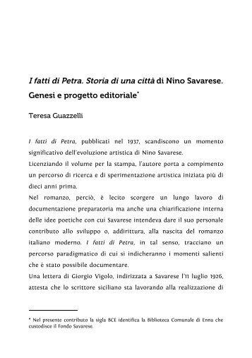 I fatti di Petra. Storia di una città di Nino Savarese. Genesi e progetto ...