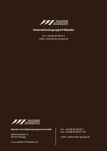 (89) 85 89 63 0 Fax +49 (89 - Wander Immobilien Wander Immobilien