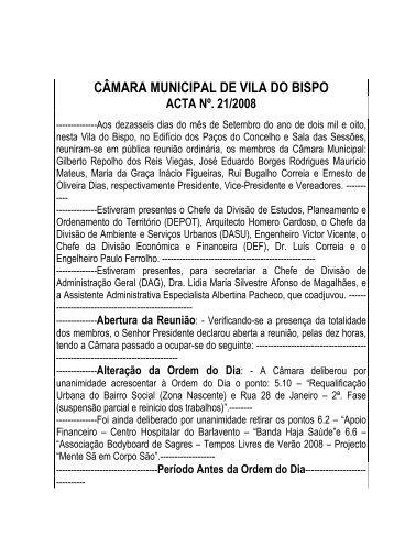 ACTA Nº. 21 - Câmara Municipal de Vila do Bispo