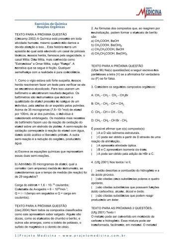 Exercícios de Química Reações Orgânicas - Projeto Medicina