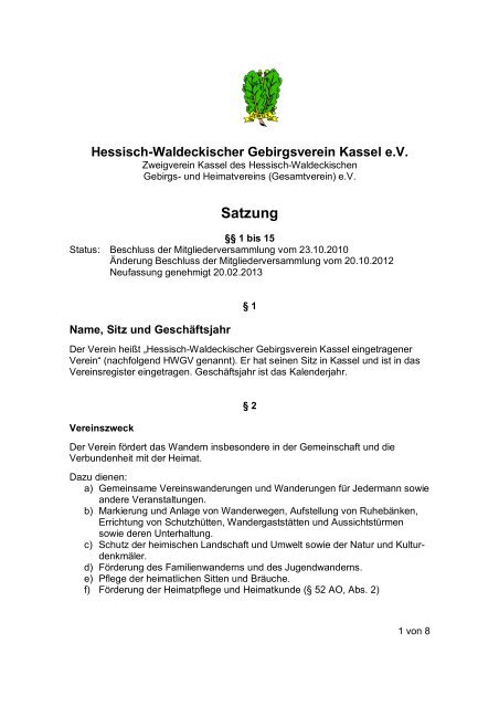 Neufassung der Vereinssatzung - Hessisch- Waldeckischer Gebirgs