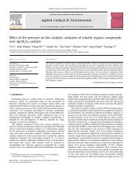 Effect of the pressure on the catalytic oxidation of volatile organic ...
