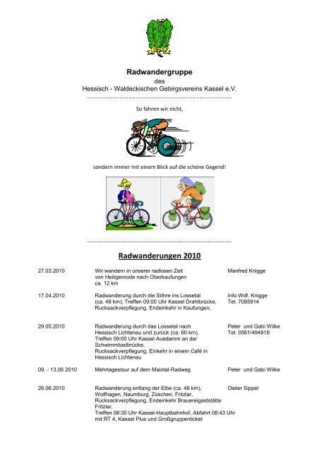 Radwanderungen 2010 - Hessisch- Waldeckischer Gebirgs