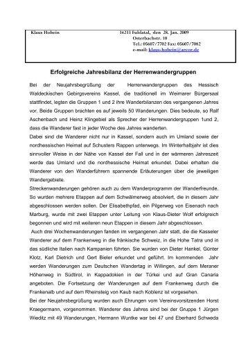 Erfolgreiche Jahresbilanz der Herrenwandergruppen - Hessisch ...