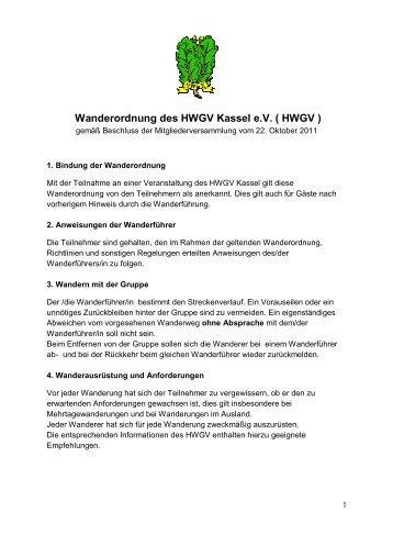 Wanderordnung des HWGV Kassel e.V. ( HWGV )