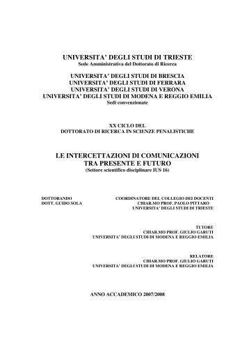 UNIVERSITA' DEGLI STUDI DI TRIESTE LE ... - OpenstarTs