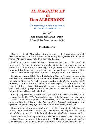 IL MAGNIFICAT di Don ALBERIONE - Parrocchia S. Maria Regina ...