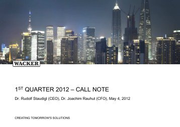 Conference Call Presentation Slides (PDF | 1010 ... - Wacker Chemie