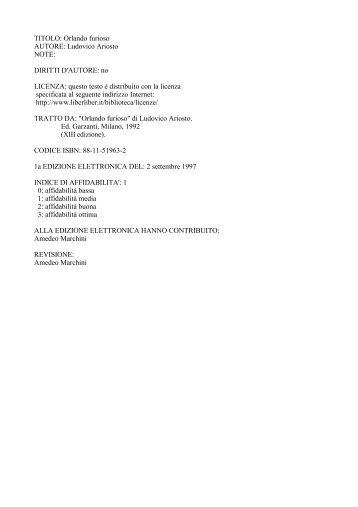 TITOLO: Orlando furioso AUTORE: Ludovico Ariosto NOTE: DIRITTI ...