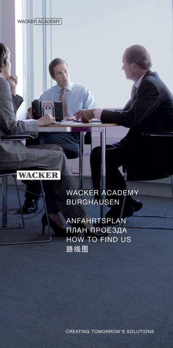 WACKER ACADEMY - Anfahrtsplan - Wacker Chemie