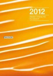 Kurzbericht 2012 - Wacker Chemie