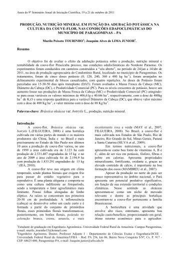 produção, nutrição mineral em função da ... - PROPED - Ufra
