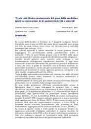Titolo tesi: Studio mutazionale del gene della proibitina (phb) in ...