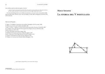 La storia del V postulato - Pagina del prof M. Savarese - Altervista