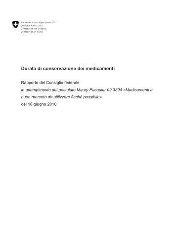 Durata di conservazione dei medicamenti - Rsi