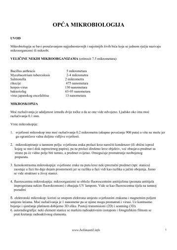 OPĆA MIKROBIOLOGIJA - Beli Mantil