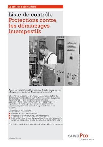 Liste de contrôle Protections contre les démarrages ... - Suva