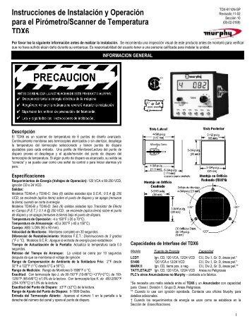 Instrucciones para Instalación, Operación, Cuidado y