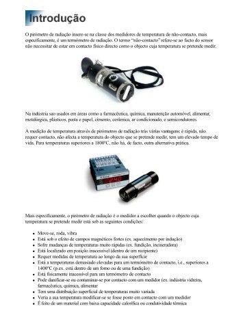 O pirómetro de radiação insere-se na classe dos medidores de ...