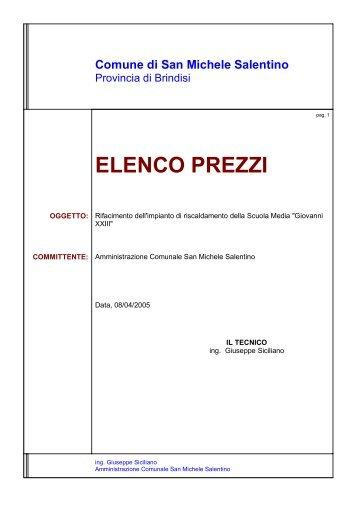 ELENCO PREZZI - Comune di SAN MICHELE SALENTINO