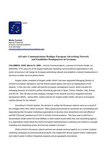 inVentiv Communications Realigns European Advertising Network ...