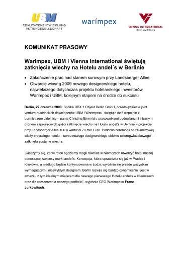 KOMUNIKAT PRASOWY Warimpex, UBM i Vienna International ...