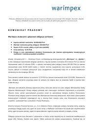 Warimpex - komunikat prasowy - emisja obligacji