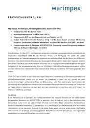 Vorläufiges Jahresergebnis 2012 deutlich im Plus - Warimpex
