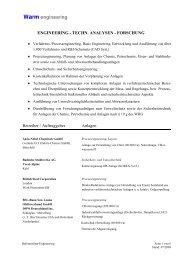 Technische Analysen - Forschung - Warm engineering