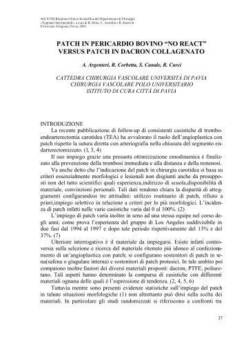 """patch in pericardio bovino """"no react"""" - Università degli Studi di Pavia"""