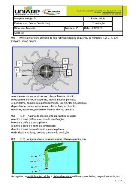 Terceirão 1ª Av Biologia 18 05 Uniarp