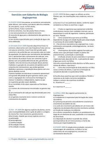 Exercícios com Gabarito de Biologia Angiospermas - Projeto Medicina