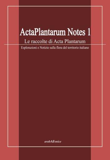 Acta Plantarum Notes 1