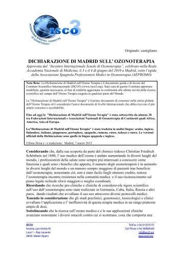 DICHIARAZIONE DI MADRID SULL' OZONOTERAPIA - Aepromo