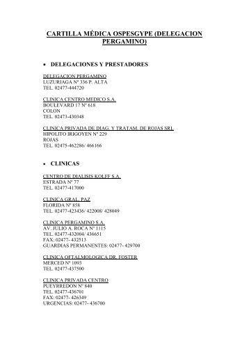 cartilla médica ospesgype (delegacion pergamino) - SOESGyPE