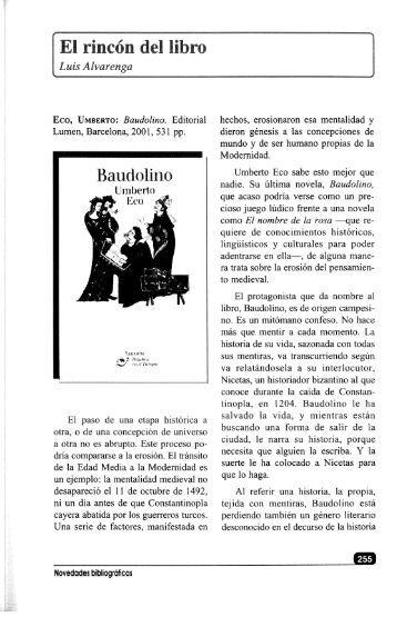 """Comentario al libro de Umberto Eco """"Baudolino"""""""