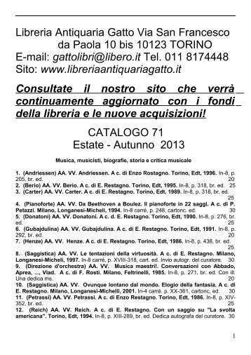 Libreria Antiquaria Gatto Via San Francesco da Paola 10 bis 10123 ...