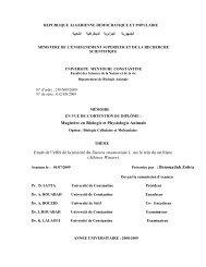 Magistère en Biologie et Physiologie Animale Etude de l'effet de la ...