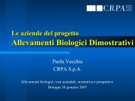 Le aziende del progetto ALLEVAMENTI BIOLOGICI DIMOSTRATIVI