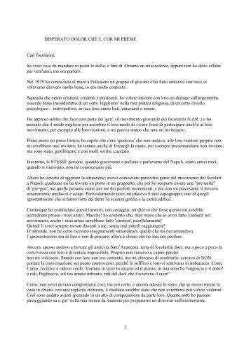 DISPERATO DOLOR CHE 'L COR MI PREME Cari focolarini, ho ...