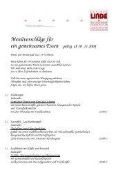 Menüvorschläge für ein gemeinsames Essen ... - Linde-Villingendorf