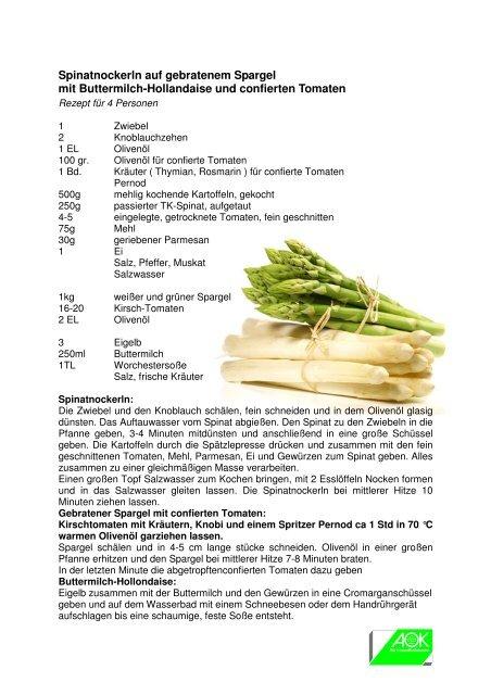 Rezepte aus der AOK-KochShow 27. März 2012 Stadthalle ...