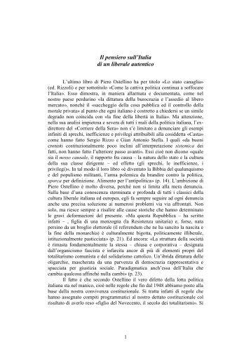 Il pensiero sull'Italia di un liberale autentico - Movimento Popolare ...