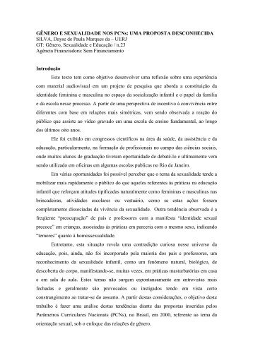 GÊNERO E SEXUALIDADE NOS PCNs: UMA PROPOSTA ... - ANPEd