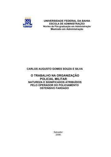 o trabalho na organização policial militar - Escola de Administração ...