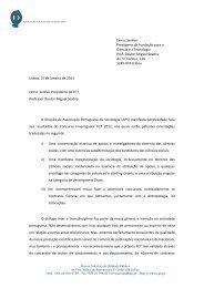 Leia aqui a carta remetida à FCT. - Associação Portuguesa de ...