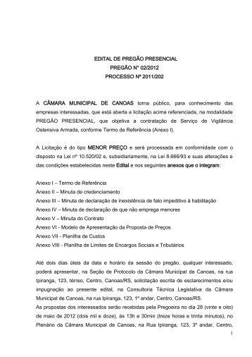 1 EDITAL DE PREGÃO PRESENCIAL PREGÃO N° 02 ... - Procempa