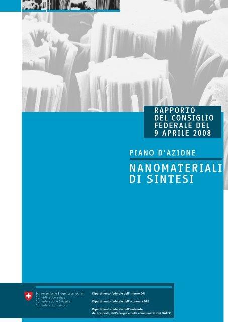 """Piano d'azione """"Nanomateriali di sintesi"""" - admin.ch"""