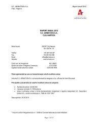 RAPORT ANUAL 2012 S.C. ARMATURA S.A. CLUJ-NAPOCA