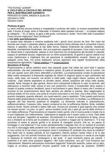 Periodo di gara, massa e qualità - Giovanni Cianti